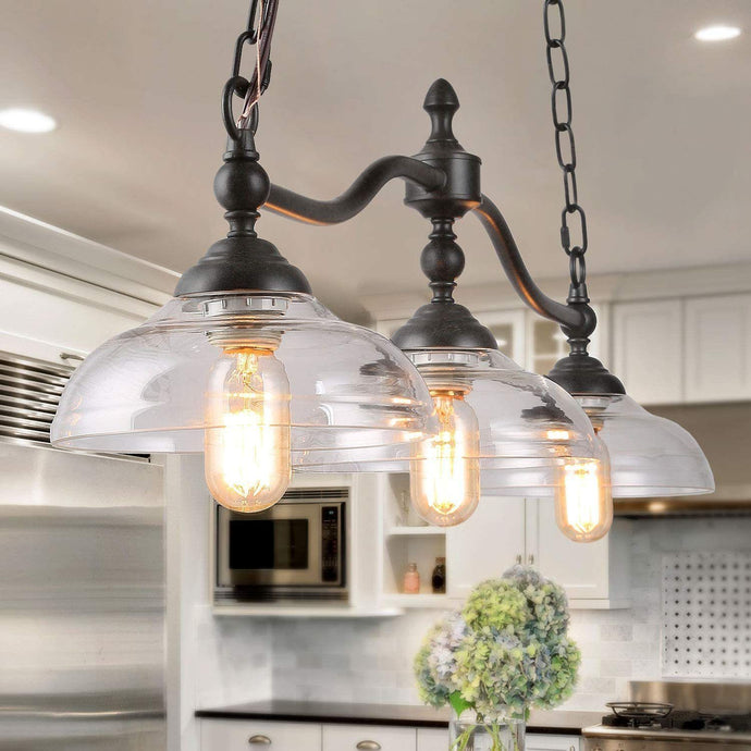Log Barn Kitchen Fixture 3 Farmhouse Chandelier for Island Rustic Black Metal Finish with Clear Glass Shades, Vintage, Large Ceiling Hanging Pendant Lighting (Large Ceiling Hanging Pendant Lighting)