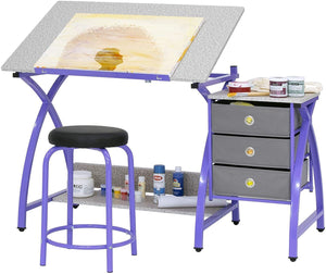 "2 Piece Comet Art, Hobby, Drawing, Drafting, Craft Table with 36""W x 23.75""D Angle Adjustable Top and Stool in Silver/Black, Assembled Dimensions: 50"" W x x 29.5"" H"