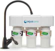 Load image into Gallery viewer, Aquasana 3-Stage Under Sink Water Filter System - Kitchen Counter Claryum Filtration - Filters 99% Of Chloramine - Brushed Nickel - AQ-5300