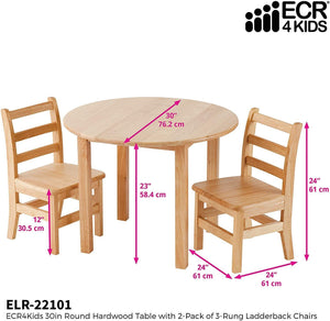 ECR4Kids 30-Inch Round Hardwood Table with Two 12-Inch Ladderback Chairs, Kids' Homeschool Table and Chair Set, Children's Solid Wood Desk and Seating, Natural Finish, (3-Piece Set)