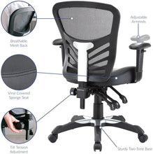 Load image into Gallery viewer, Modway Articulate Mesh Office Chair with Fully Adjustable Vegan Leather Seat In Black