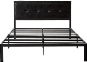 Zinus Cherie Faux Leather Classic Platform Bed Frame with Steel Support Slats, Queen