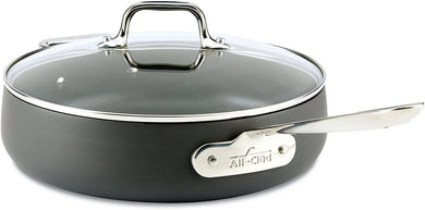 All-Clad 2100090554 E7853364 HA1 Hard Anodized Nonstick Dishwasher Safe PFOA Free Saute Pan Cookware, 4-Quart, Black