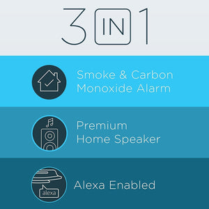 Alexa Enabled Smoke Detector and Carbon Monoxide Detector Alarm with Premium Home Speaker | Onelink Safe & Sound by First Alert