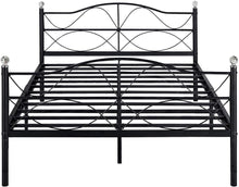 Load image into Gallery viewer, VECELO Full Size Bed Frame Metal Platform Mattress Foundation/Box Spring Replacement with Headboard, Deluxe Crystal Ball Stylish