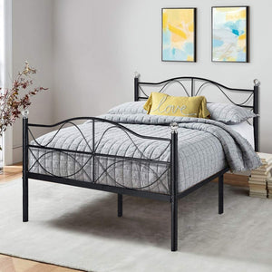 VECELO Full Size Bed Frame Metal Platform Mattress Foundation/Box Spring Replacement with Headboard, Deluxe Crystal Ball Stylish