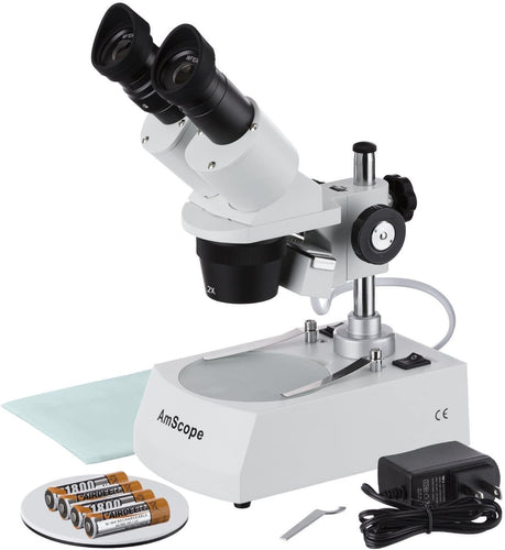 AmScope SE306R-P-LED Forward-Mounted Binocular Stereo Microscope, WF10x Eyepieces, 20X and 40X Magnification, 2X and 4X Objectives, Upper and Lower LED Lighting, Reversible Black/White Stage Plate, Pillar Stand, 120V or Battery-Powered
