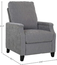 "Load image into Gallery viewer, Ravenna Home Maynard Contemporary Recliner, 27.6""W, Agate Beach Gray"