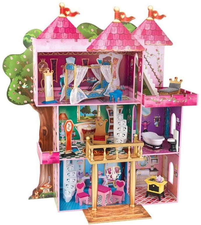 KidKraft Storybook Mansion Three-Story Wooden Dollhouse for 12
