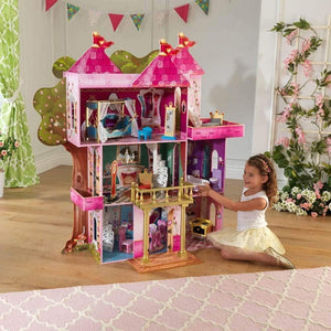 "KidKraft Storybook Mansion Three-Story Wooden Dollhouse for 12"" Dolls with 14Piece Accessories, Multi,,48 x 19.25 x 52.88 (65878)"
