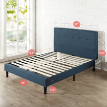 Load image into Gallery viewer, Zinus Omkaram Upholstered Navy Button Detailed Platform Bed / Mattress Foundation / Easy Assembly / Strong Wood Slat Support, Queen