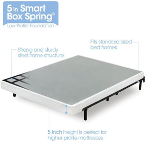 Zinus Armita 5 Inch Low Profile Smart Box Spring / Mattress Foundation / Strong Steel Structure / Easy Assembly Required, King