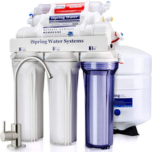 Load image into Gallery viewer, iSpring RCC7AK 6-Stage Superb Taste High Capacity Under Sink Reverse Osmosis Drinking Water Filter System with Alkaline Remineralization-Natural pH, White
