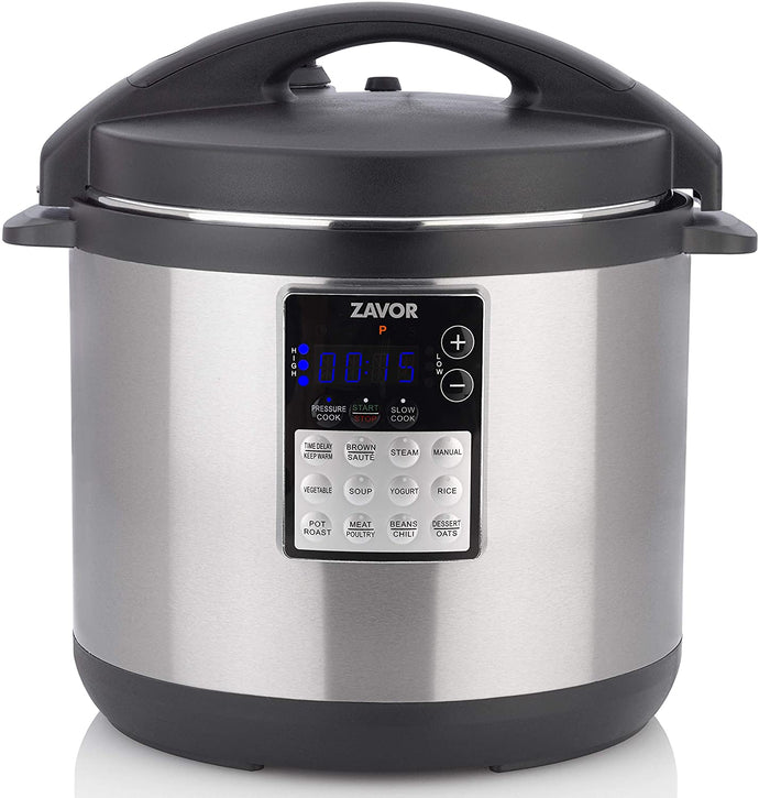 Zavor LUX Edge, 4 Quart Programmable Electric Multi-Cooker: Pressure Cooker, Slow Cooker, Rice Cooker, Yogurt Maker, Steamer and more - Stainless Steel