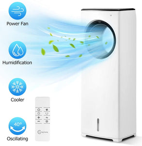 "COMFYHOME 2-in-1 32"" Evaporative Air Cooler & Tower Fan w/Cooling & Humidification Function, Bladeless Design, 3 Wind Speeds, 4 Modes, 40° Oscillation, 8H Timer, Remote Control for Home Office"