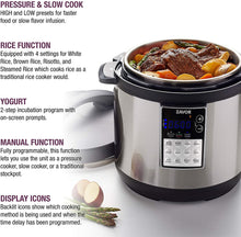 Load image into Gallery viewer, Zavor LUX Edge, 4 Quart Programmable Electric Multi-Cooker: Pressure Cooker, Slow Cooker, Rice Cooker, Yogurt Maker, Steamer and more - Stainless Steel