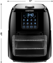Load image into Gallery viewer, Chefman 6.3 Quart Digital Air Fryer+ Rotisserie, Dehydrator, Convection Oven, 8 Touch Screen Presets Fry, Roast, Dehydrate & Bake, BPA-Free, Auto Shutoff, Accessories Included, XL Family Size, Black