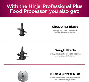 Ninja BN601 Professional Plus Food Processor 1000-Peak-Watts with Auto-iQ Preset Programs Chop Puree Dough Slice Shred with a 9-Cup Capacity and a Silver Stainless Finish