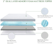 Load image into Gallery viewer, Novilla Mattress Topper Queen, 3 Inch Dual Layer Memory Foam Mattress Topper Enhance Cooling,Supportive & Pressure Relieving,with Washable Bamboo Cover,Queen Size
