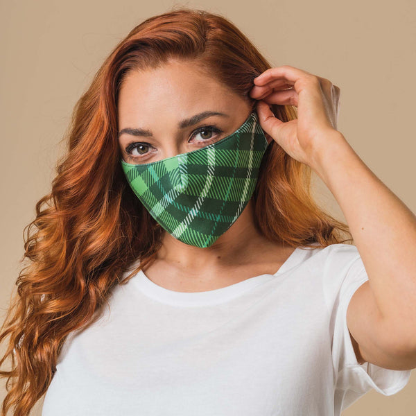 Green Tartan Printed Face Mask