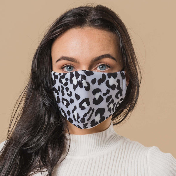 Blue Leopard Printed Face Mask
