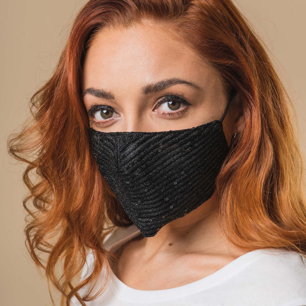 Black Sequin Printed Face Mask