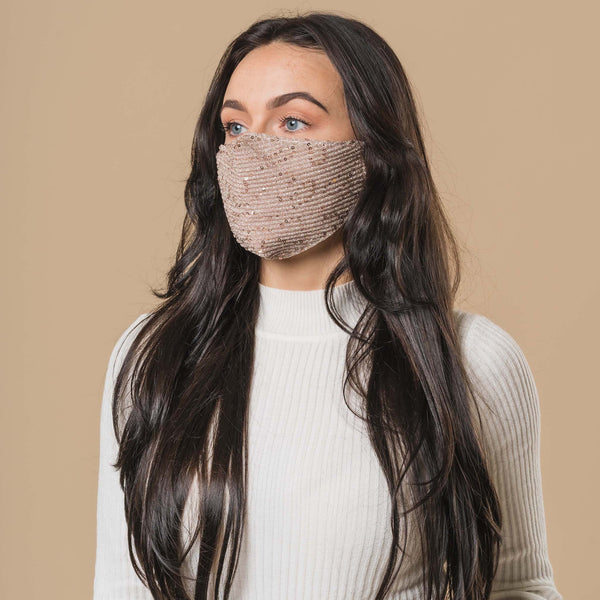 Blush Sequin Printed Face Mask