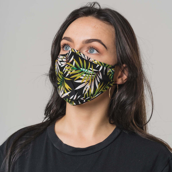 Black Palm Printed 100% Cotton Face Mask