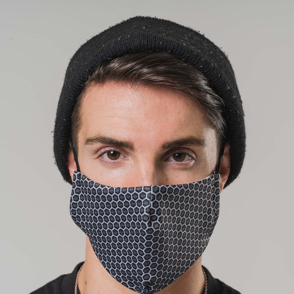 Black Mesh Printed Face Mask