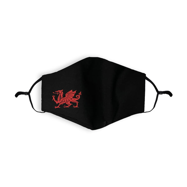 Black with Red Dragon Printed Face Mask