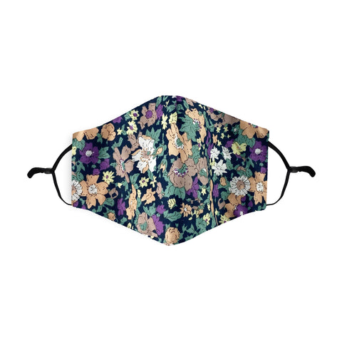 Ditsy Floral Black Printed 100% Cotton Face Mask