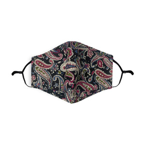 Navy/Damsen Paisley Pattern Printed 100% Cotton Face Mask