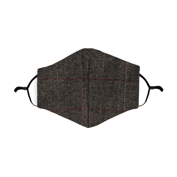 Grey Twill Tweed Face Mask