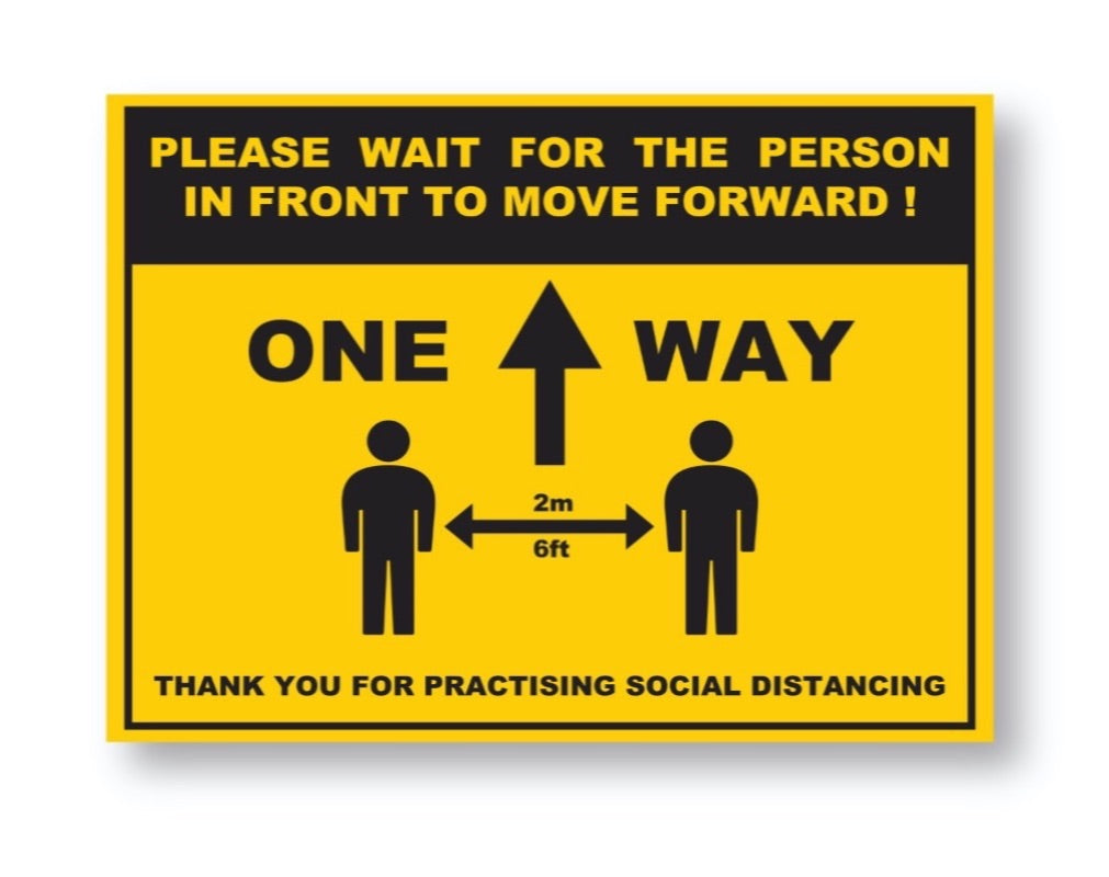 Social Distancing One Way Sticker Pack Of 5