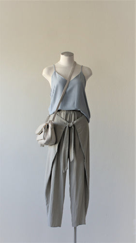wrap front tulip pants in light olive paired with double layered flare top in light blue
