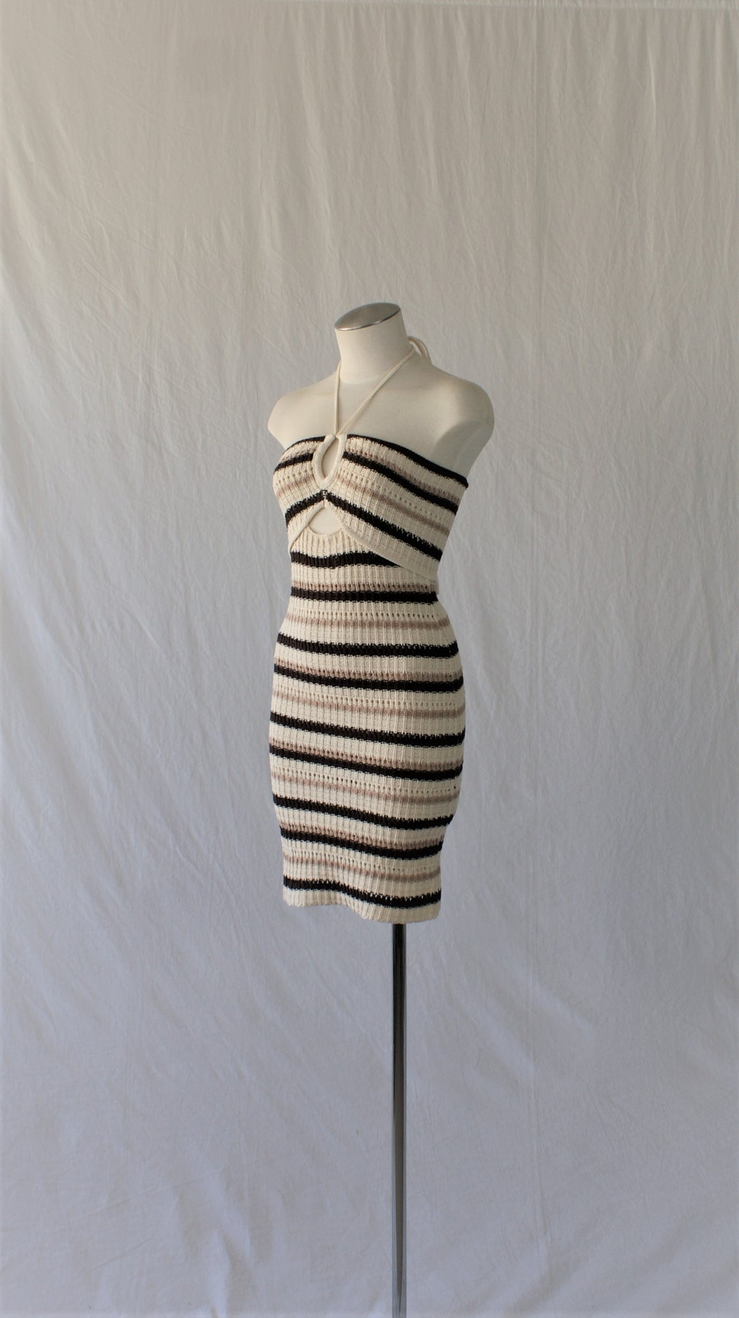 black velvet blazer paired with twinkle Sunday cowl neck mini dress in light taupe