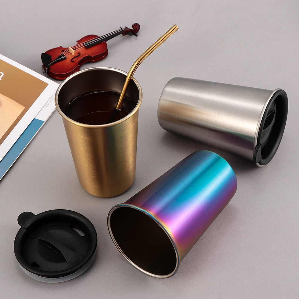 500ML Reusable Tumbler Stainless Steel Coffee Mugs