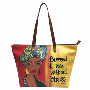 Blessed To Live Without Stress Handbag