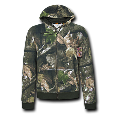 Grey Bark Camouflage Zip Up Hoodie