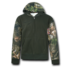 Load image into Gallery viewer, Grey Bark Camouflage Two Tone Zip Up Hoodie