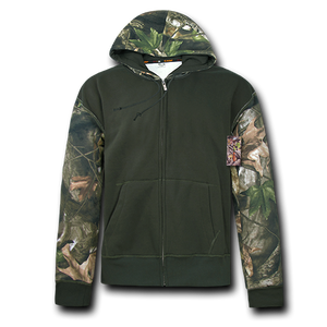 Grey Bark Camouflage Two Tone Zip Up Hoodie