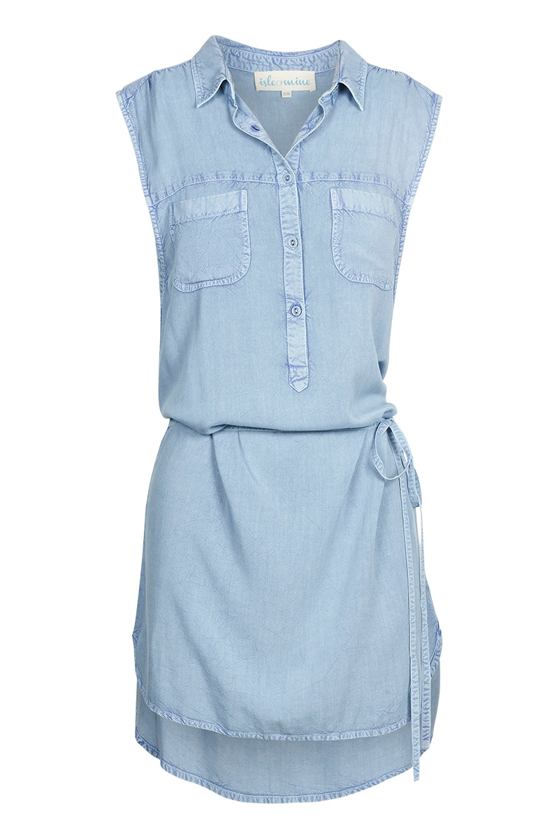 Nahla Shirt Dress - Sky - Isle of Mine Clothing - Dress Mid