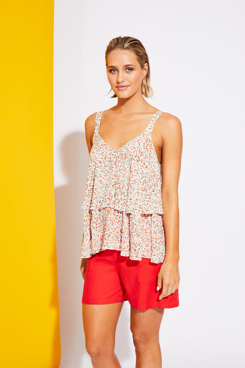 Riviera Tank - White Posy - Isle of Mine Clothing - Top Sleeveless