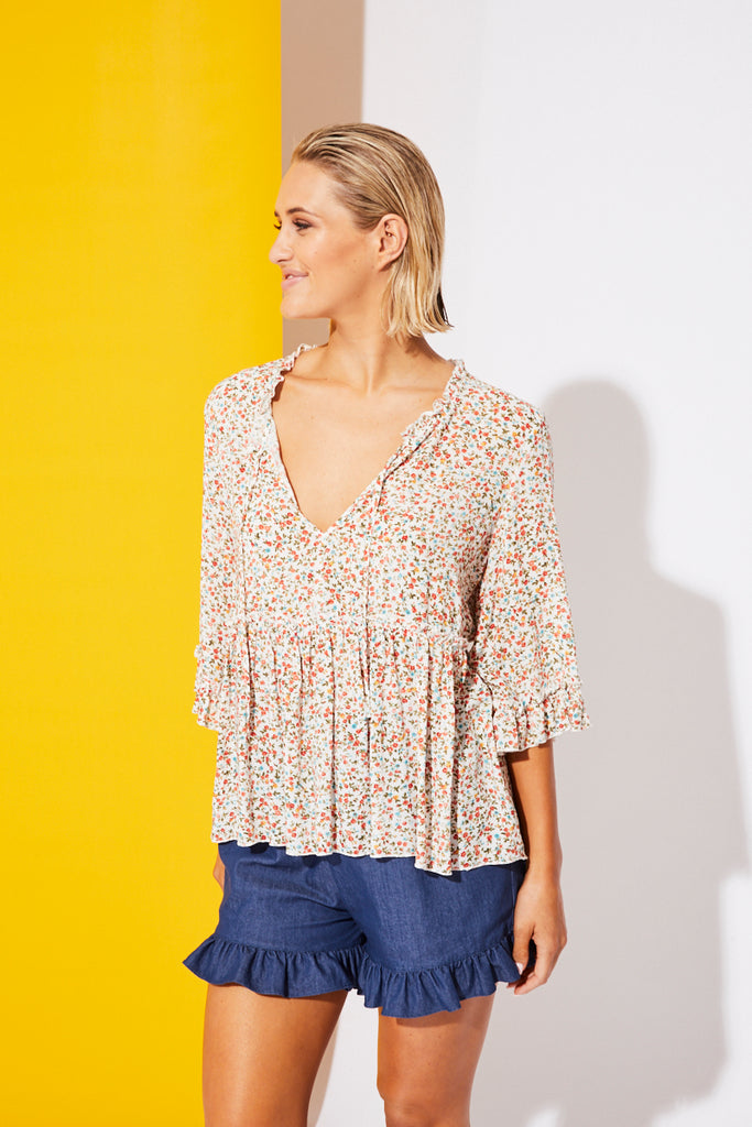 Riviera Blouse - White Posy - Isle of Mine Clothing - Top L/S