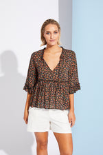 Riviera Blouse - Black Posy - Isle of Mine Clothing - Top L/S