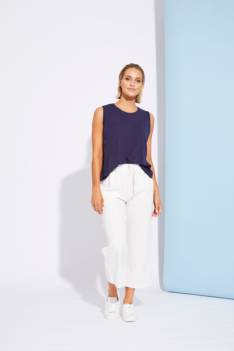 Paloma Crop Pant - White - Isle of Mine Clothing - Pant Crop