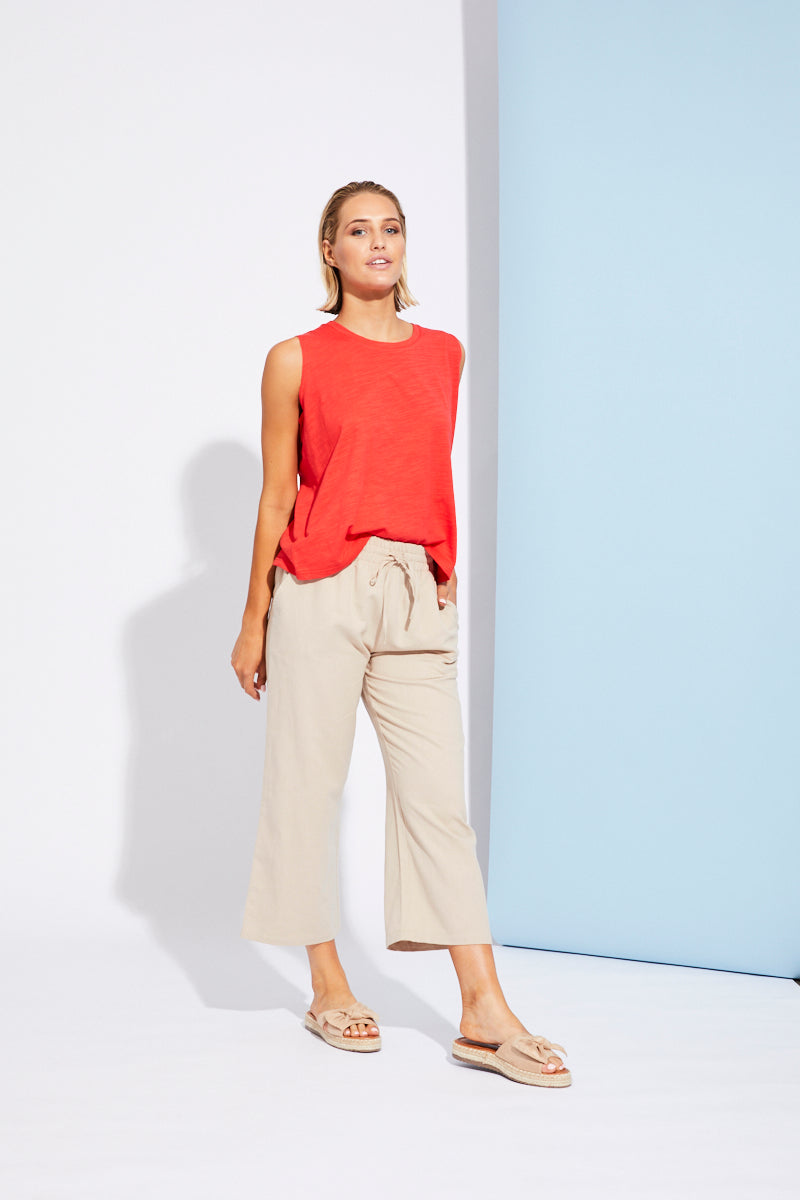 Paloma Crop Pant - Beige - Isle of Mine Clothing - Pant Crop
