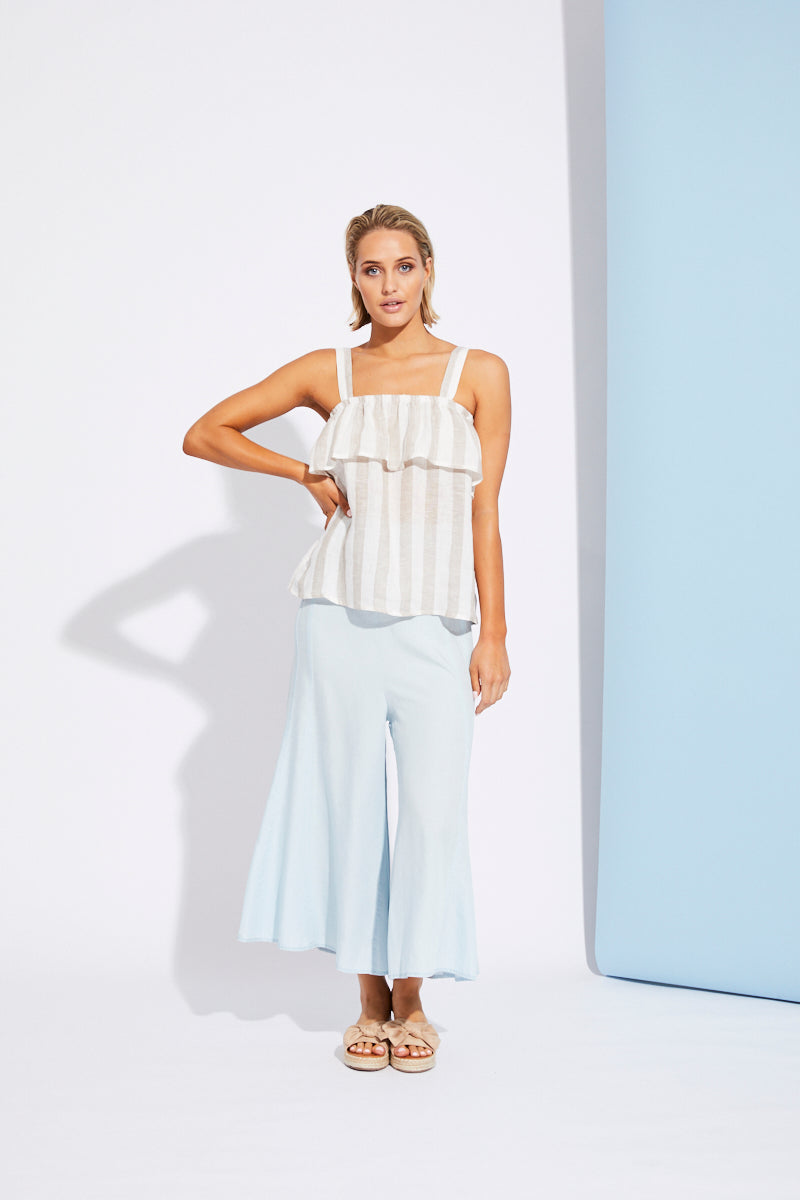 St Tropez Tank - White/Beige - Isle of Mine Clothing - Top Sleeveless Linen