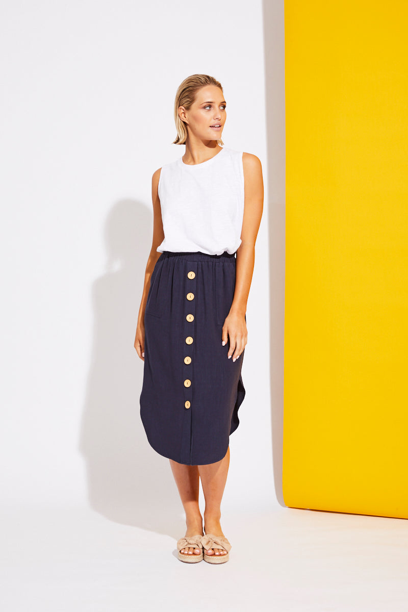 La Barre Skirt - Navy Blue - Isle of Mine Clothing - Skirt Linen