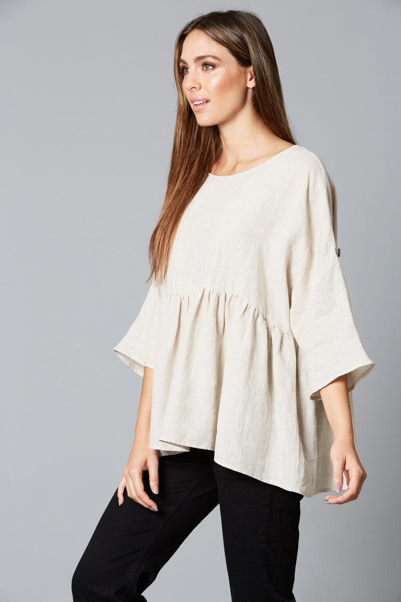 Eve Top - Wheat - Isle of Mine Clothing - Top - S/S Linen Oversize
